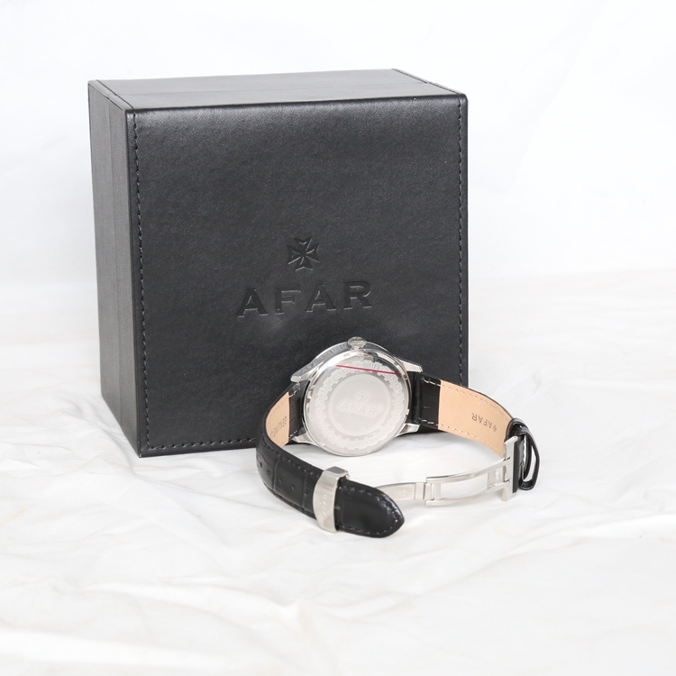 Black packaging boxes pu leather custom watch box