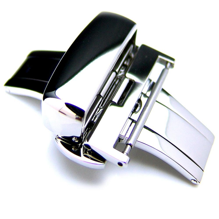 20mm 22mm 24mm Deployment Buckle Polished Stainless Steel Clasp for Leather Strap