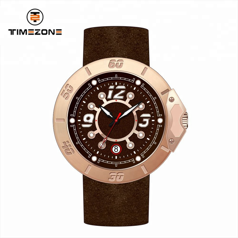 Mew design gold watch stainless steel genuine leather strap sport watch