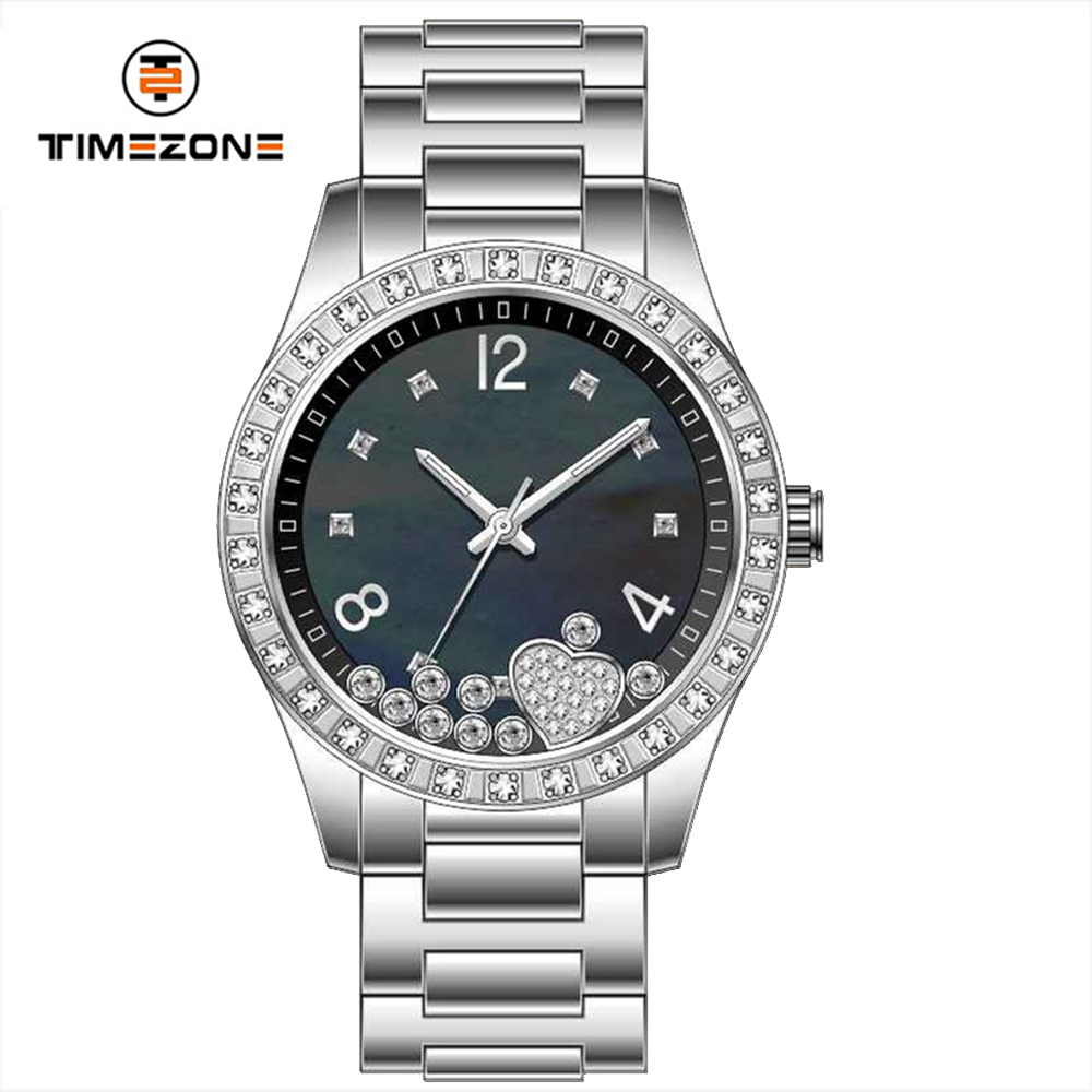New 36mm women's watches white mop stones dial elegance watches with steel bracelet
