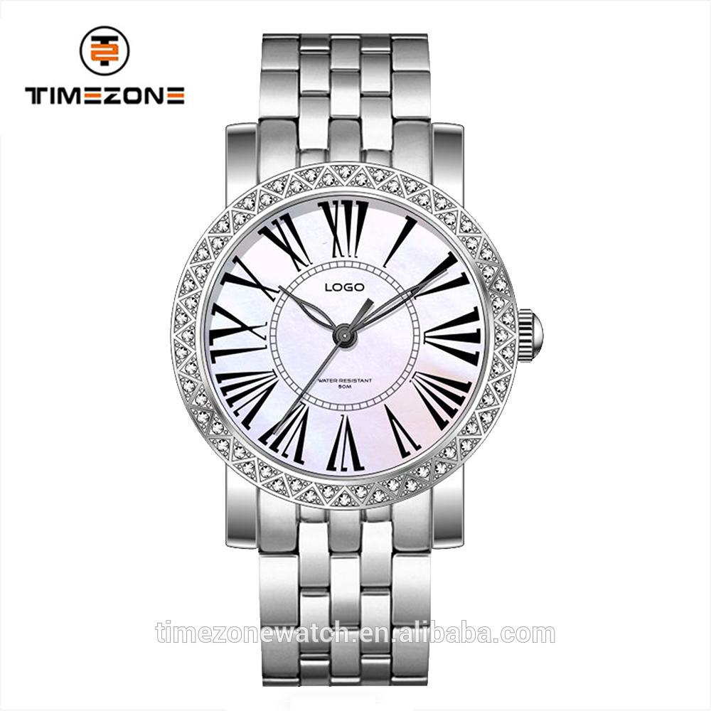 Ladies luxury bracelet stones bezel japan movt diver 50 meters quartz watches with roma number