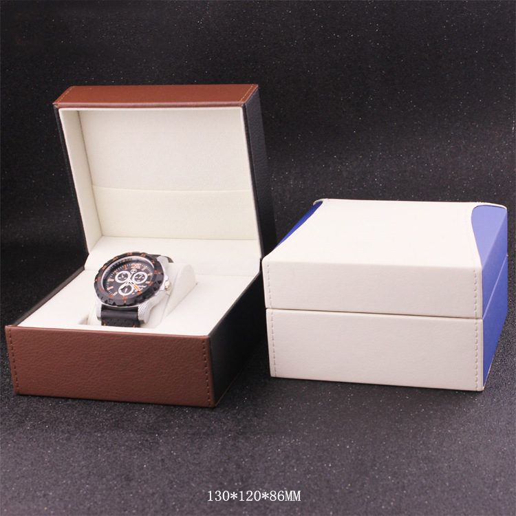 Luxury Black Padded Paper Watch Box Custom Logo Watch packaging Box with Insert