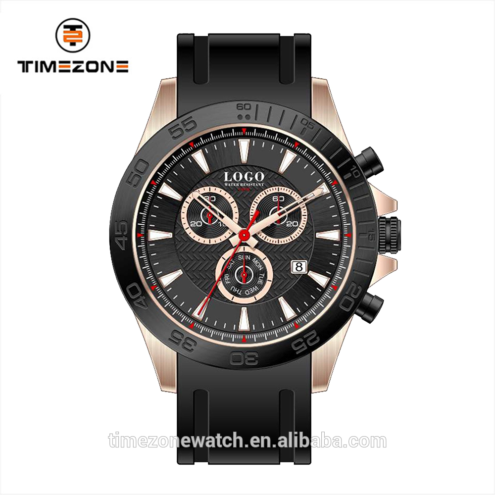 2016 six hands rubber straps pilot watch custom logo aviator sport style 10atm wristwatch