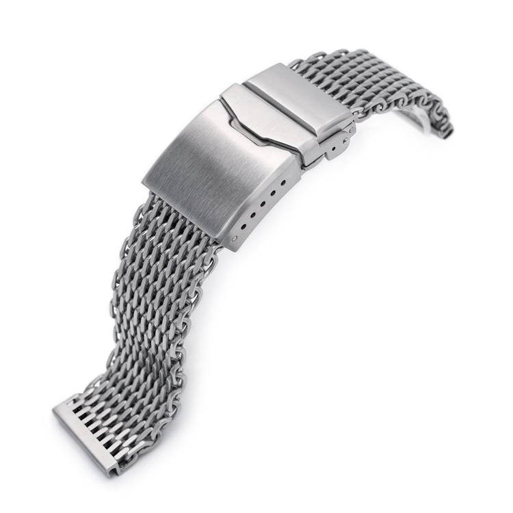 22mm SHARK Mesh Band Stainless Steel Brushed Button Chamfer Clasp Watch Bracelet