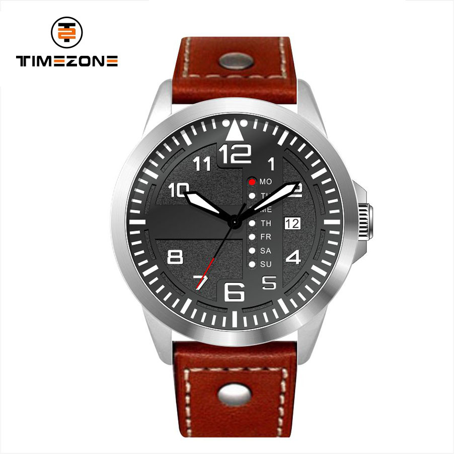 2019 Timezone brand horloge watches men soft geneval Genuine Leather Band multifunction Watches