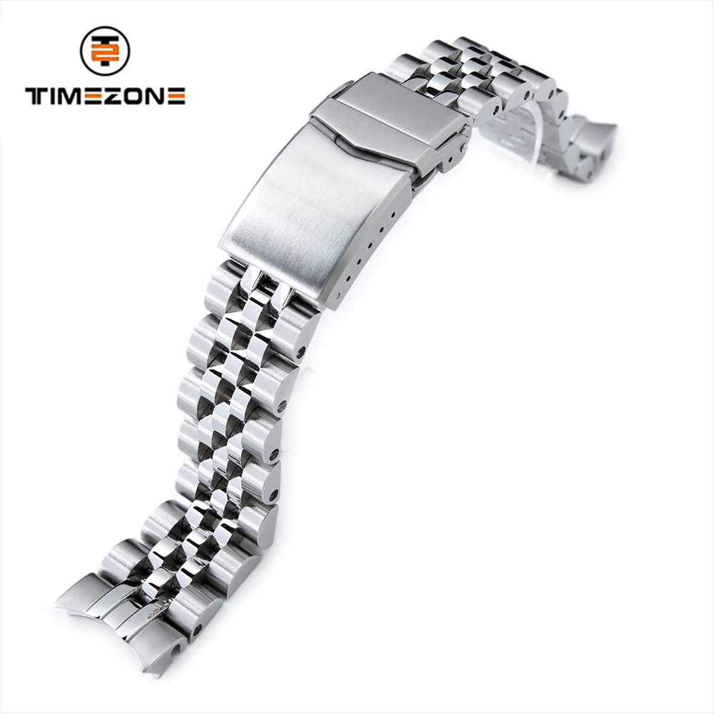 20mm Brushed V Clasp 316L Stainless Steel Watch Bracelet for Alpinist