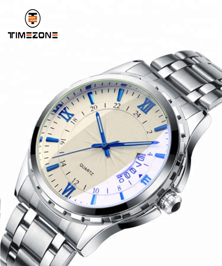 Men watch stainless steel calender luminous business casual oem wrist watch