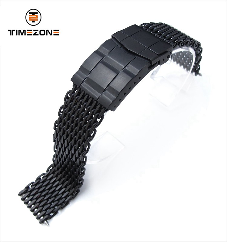 20mm Ploprof 316  Diver Clasp PVD Reform Stainless Steel SHARK Mesh Watch Band