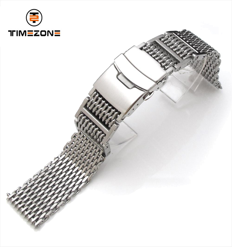 22mm Brushed 316L Stainless Steel Flexi Ploprof SHARK Mesh Band diver clasp