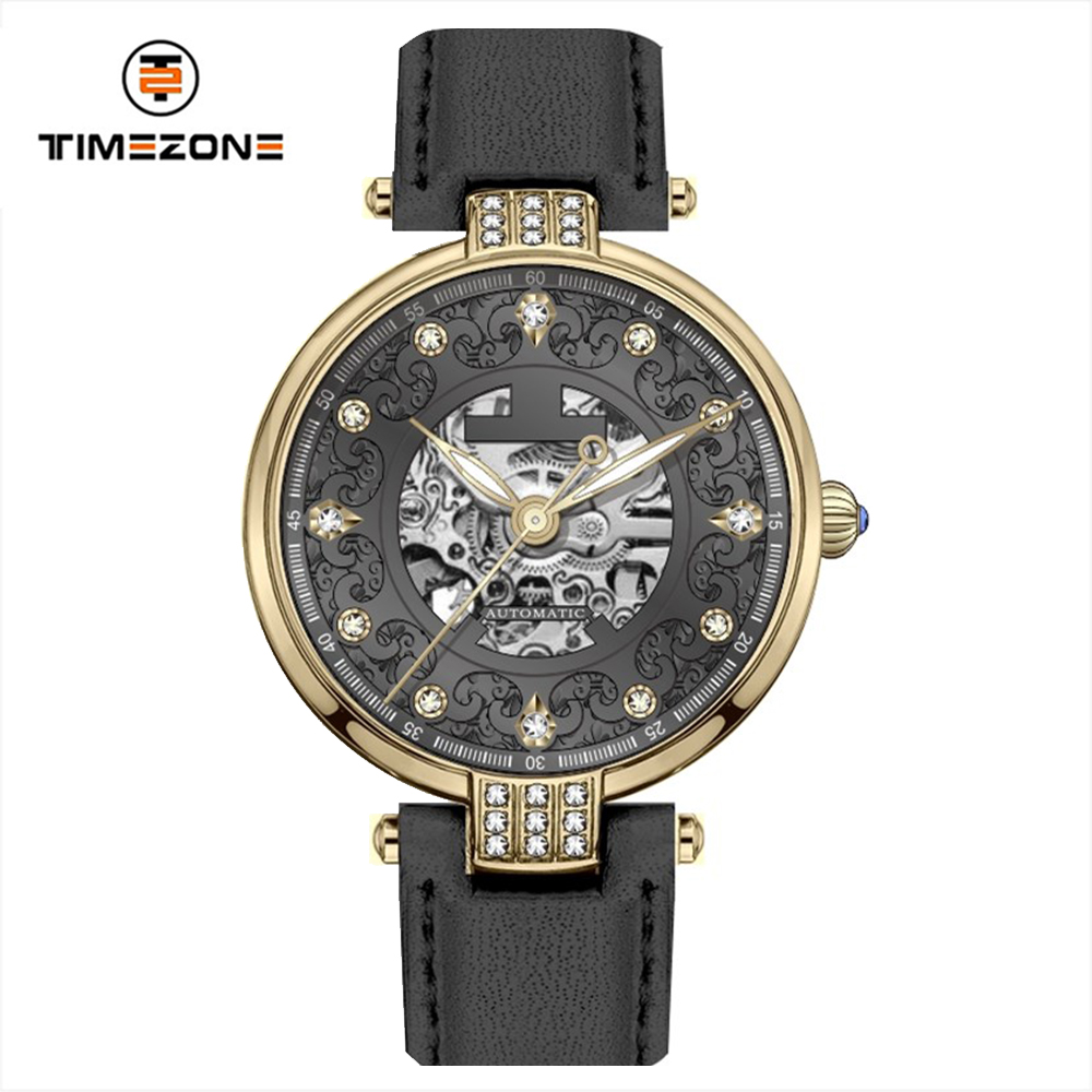 2019 OEM and ODM leather Strap three hands Automatic women Watches with hollow dial
