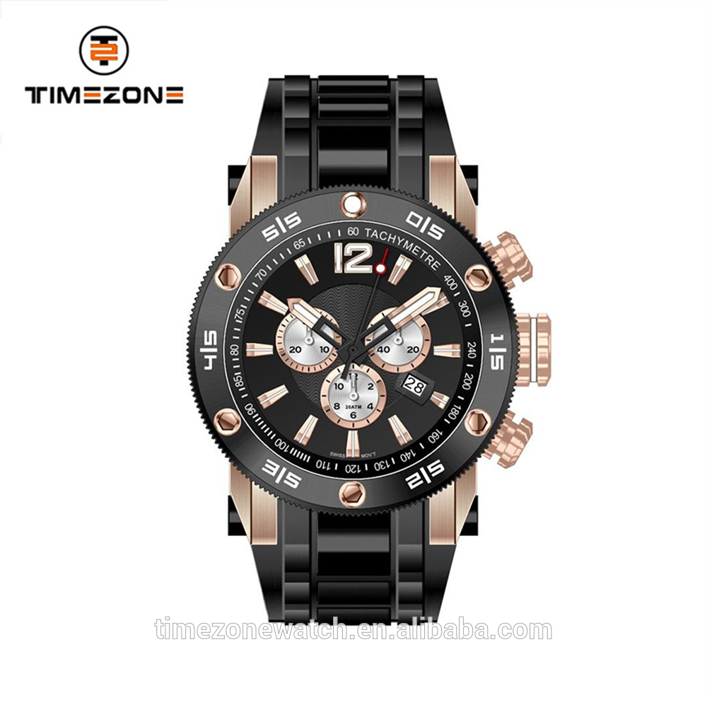 Hot selling silicon strap screw bezel gentleman sport multifunction watches