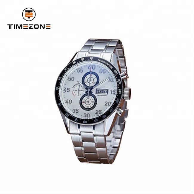 Stainless steel Multifunctional Waterproof Calendar Chronograph men wrist Watch