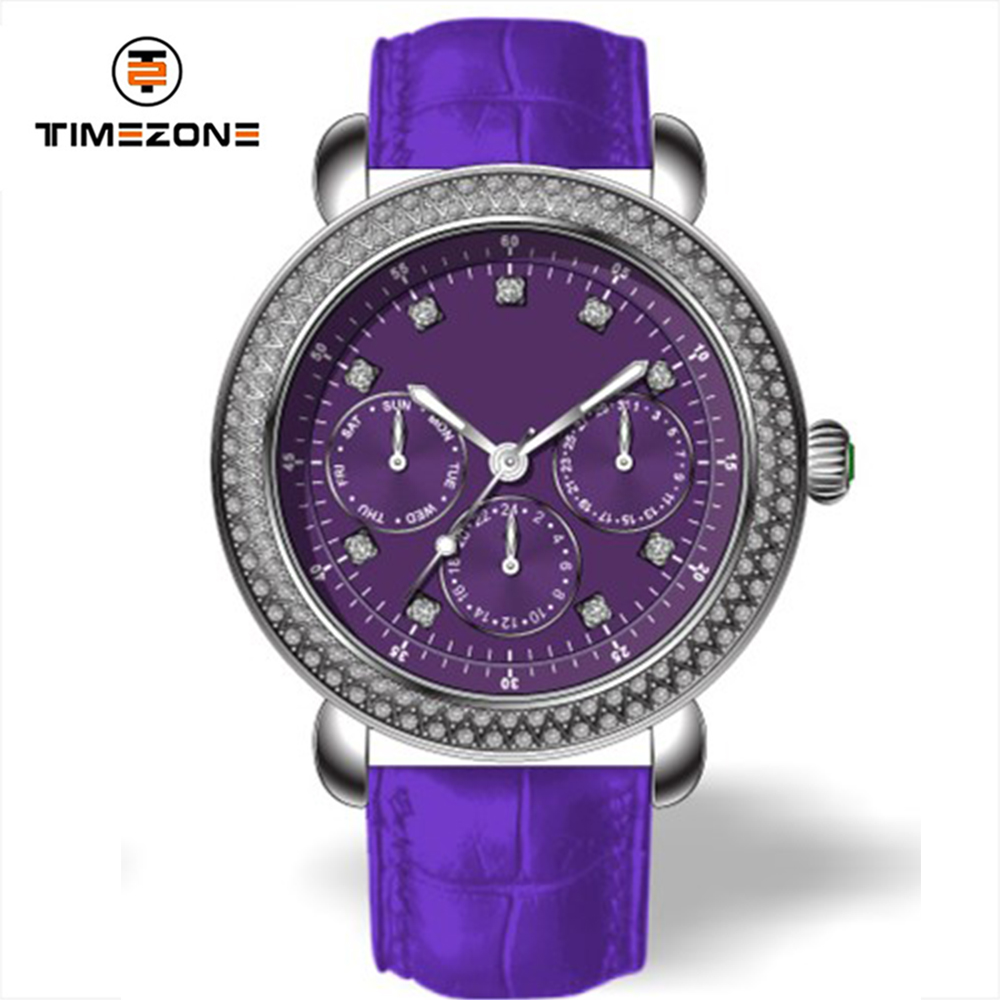 2017 cheap Stainless Steel Diamond Ladies genuine leather strap wrist watches