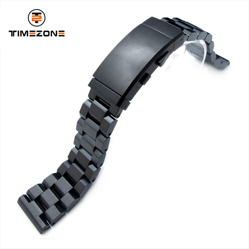 21.5mm Brushed bracelet PVD Black 316L Stainless Steel Band watch accessories