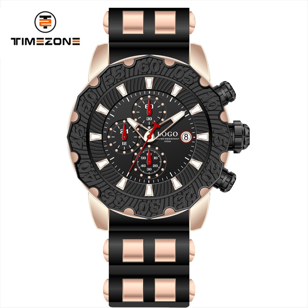 New design DLC plating watch case super luminous dial watch with rubber band