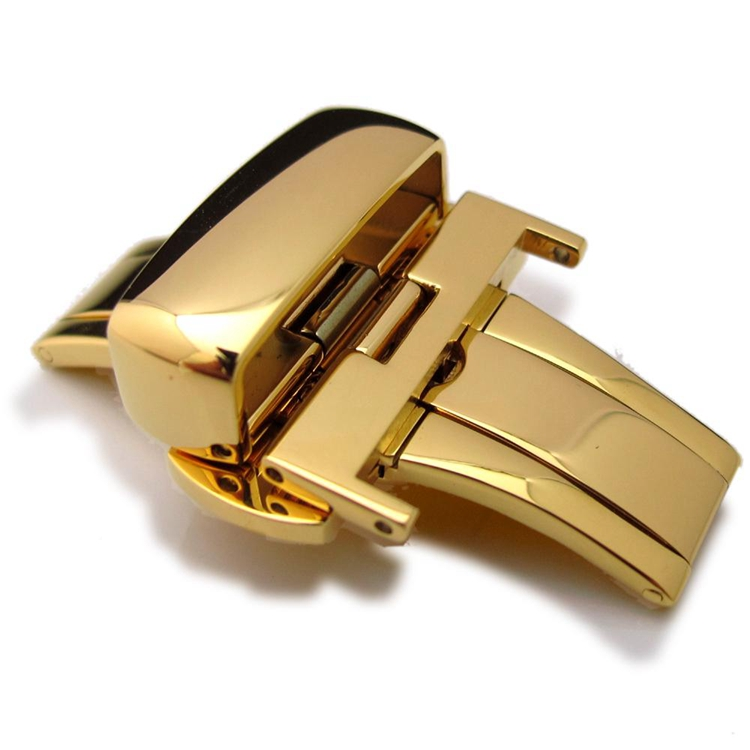 20mm 22mm 24mm Deployment Buckle Gold Plated Stainless Steel Clasp for Leather Strap