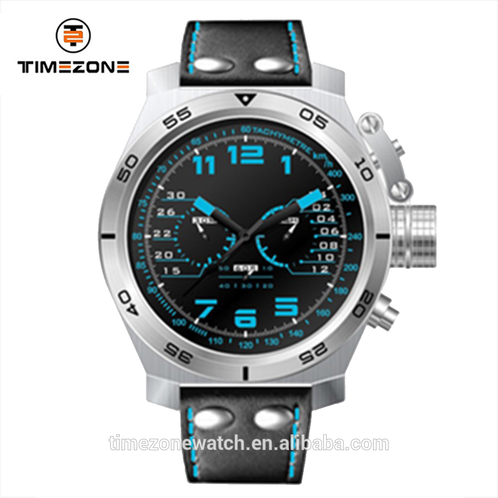 Top brand luminous dial montre simulate military sport genuine leathcer wrist watches for men