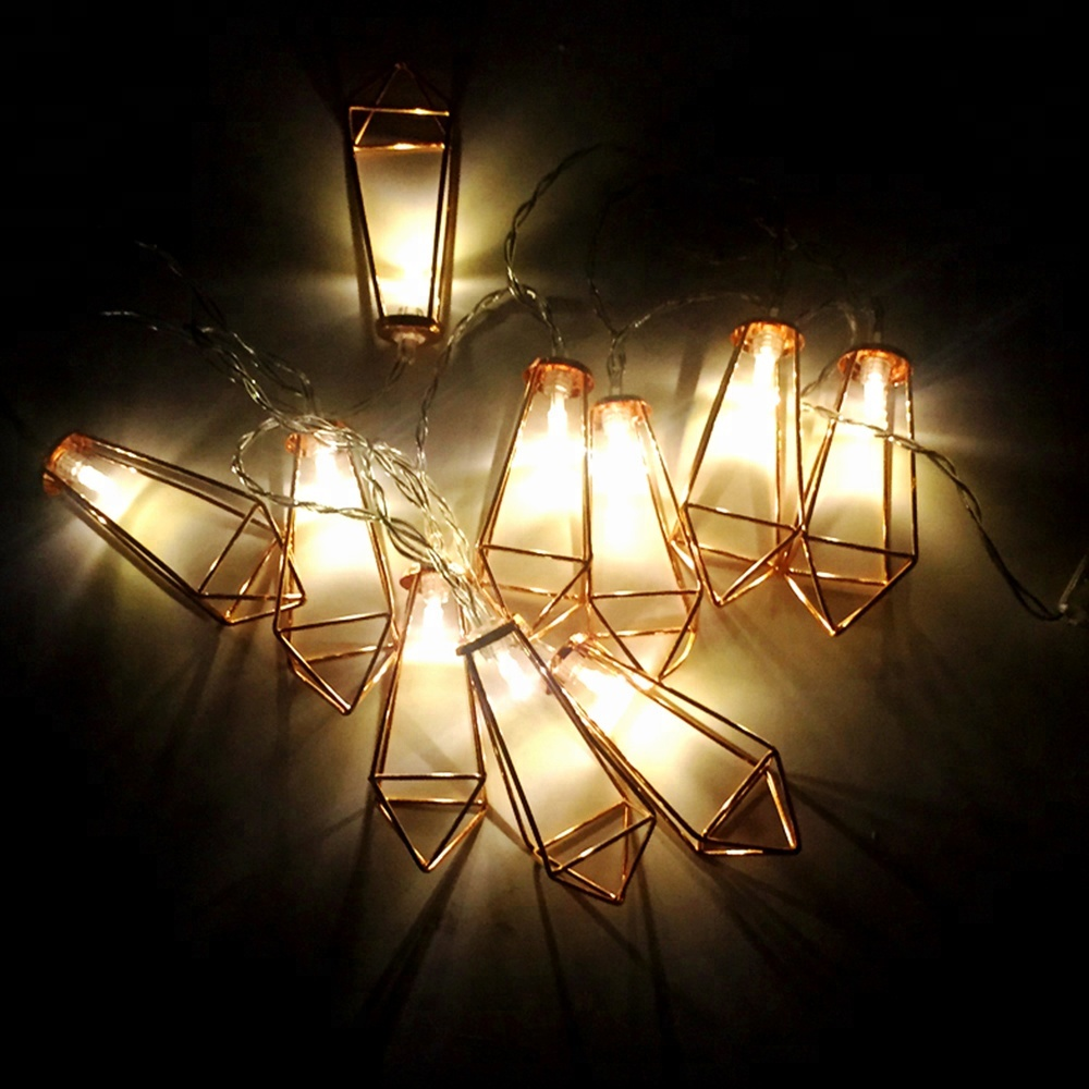 20 LED Rose Golden Geometric Cage Lantern String Lights Battery Operated Fairy String Lights