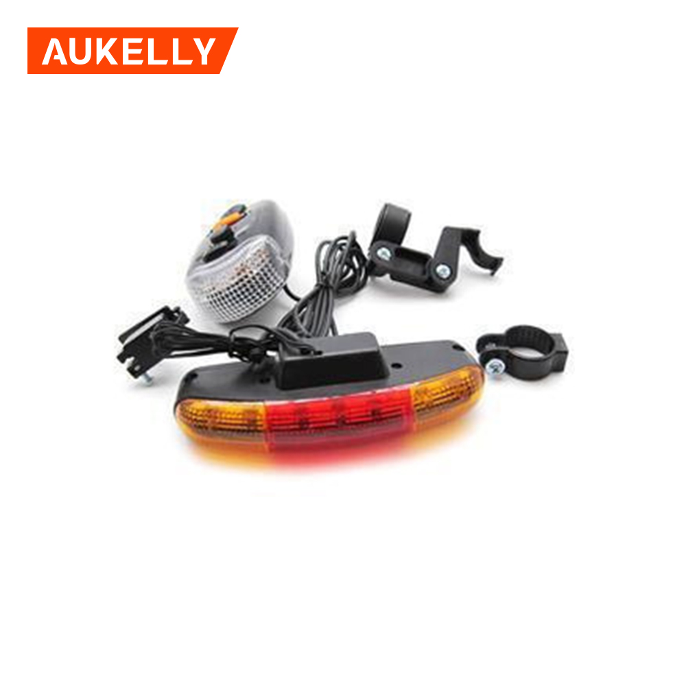 7 LED Bicycle Bike Turn lamp Signal Directional BrakeTail Light 8 sound Horn Fixed mount Set cycle Safety warning flashlight
