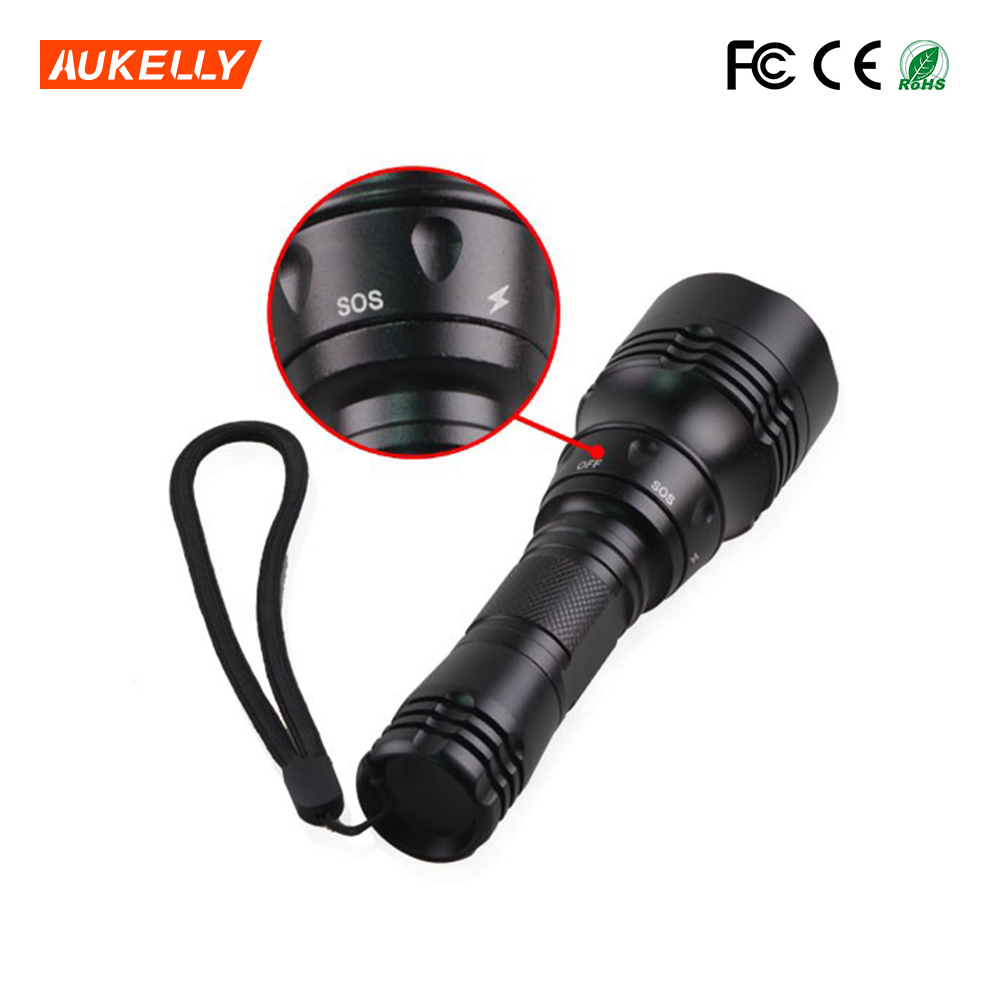 18650 rechargeable 100m light distance aluminum T6 diving underwater flashlight