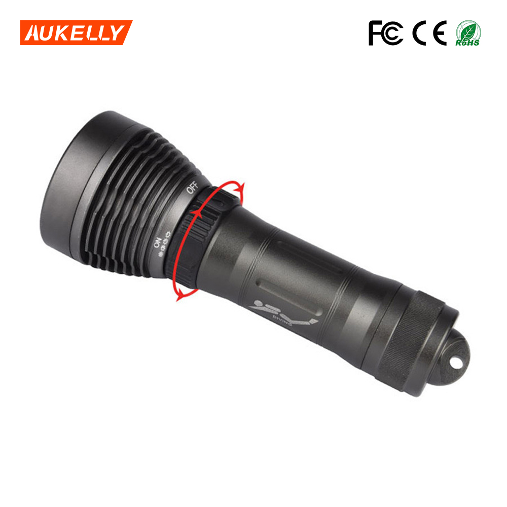Professional Waterproof Rotary switch LED 1*18650 Diving Torch Underwater FlashLight lantern
