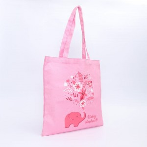 Romantic Pink Tote Bags Custom Logo Women Canvas Bag
