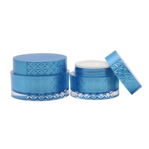 Skin Care Packaging Container 30g 50g Blue Face Cream Plastic Cream Jar With Lid