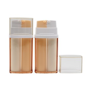 Dual Chamber Square Airless Bottle,  Double Wall 2 in 1 Eye Serum Bottle