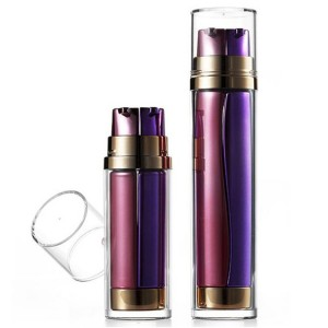Dual Chamber Round Airless Bottle,  Thick Wall 2 in 1 Bottle for Eye Serum