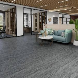 Dark Grey Color Marble Grain Vinyl Click Tile