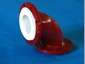 PTFE Lined 90deg Elbow with Flange Connection Pipe Fitting