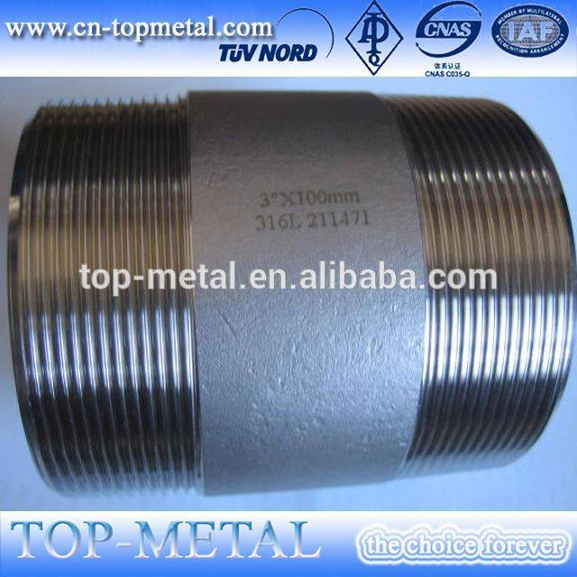 stainless steel sch40 one end npt full thread nipple