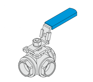 3-WAY BALL VALVE REDUCE PORT 1000WOG,PN63  ISO MOUNTING PAD