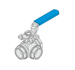 3-WAY BALL VALVE REDUCE PORT 1000WOG,PN63 ISO-5211 DIRECT MOUNTING PAD