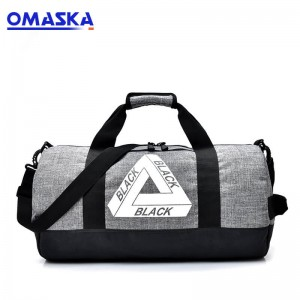 Detachable Adjusted Shoulder Strap Leisure Round Barrel Shape Sports Round Canvas Travel Duffle Bag