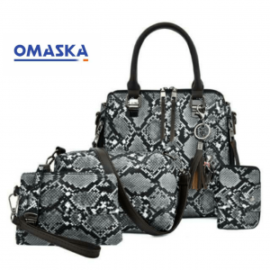 Hot sale serpentine 4pcs woman hand bag set set of ladies hand bags hand bag set