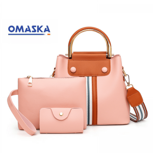 New women pu leather simple woman handbags sets