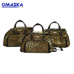 2018 fashionable manufacturers 18″20″22″ 3pcs custom print wheeled trolley wholesale leather duffle bag