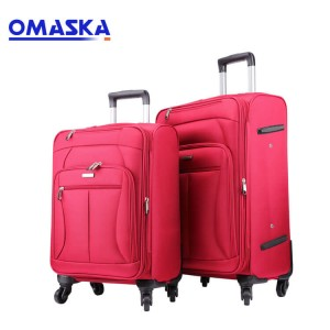 Custom waterproof nylon red 4 wheels zipper travel suitcase luggage set