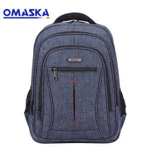 Custom logo high quality business 15.6 blue nylon computer backpack