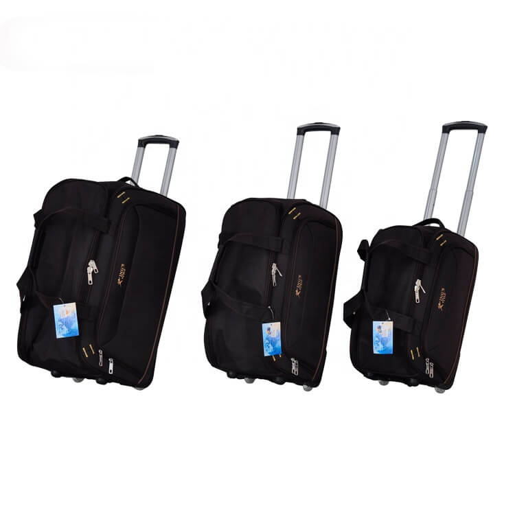 2019 China factory price 3pcs set polyester travel time duffel wholesale trolley bag