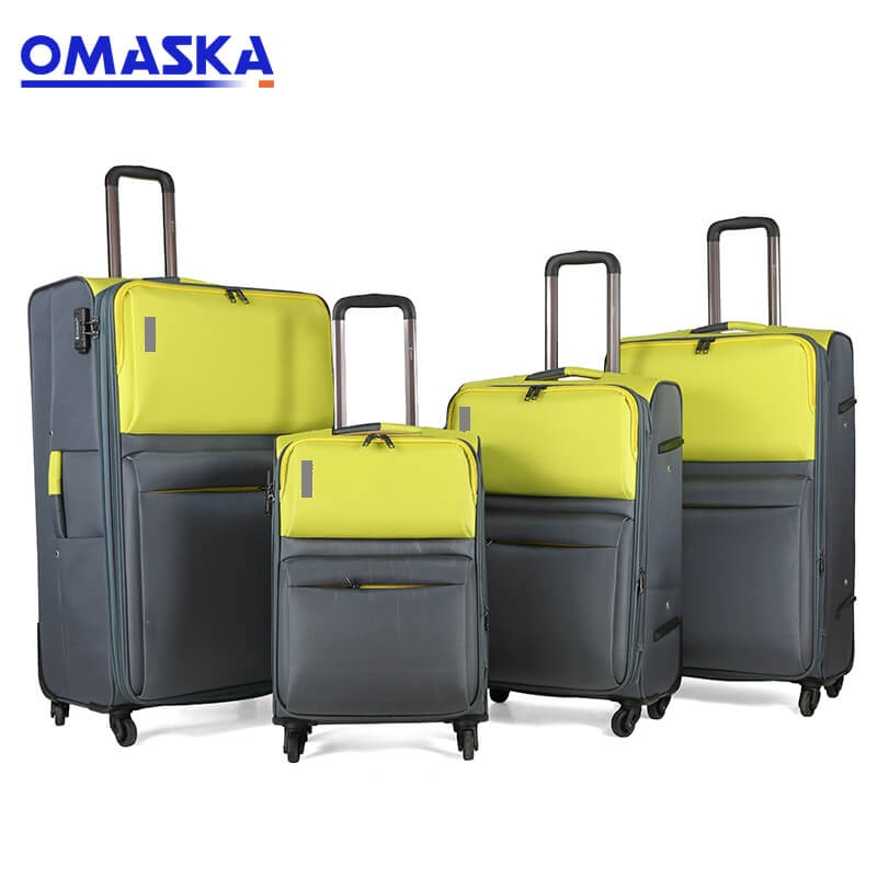 Reasonable price Customised Bag Accessories - New Product 2019 Business Fashion Suitcase Set Nylon Soft Black Grey Travel Bag Trolley Hand Carry Luggage – Omaska Featured Image