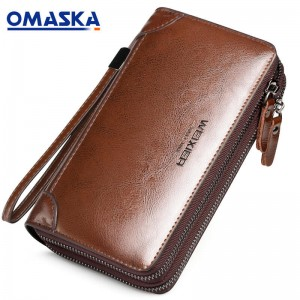 Wholesale classic PU leather men clutch bag oil wax surface long wallet