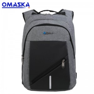 Canton Fair OMASKA Custom  big capacity zipper oxford 17 inch gray men school laptop backpack