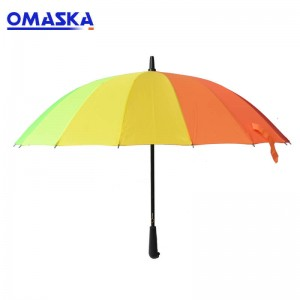 16 bone rainbow umbrella long handle solid color automatic umbrella business gift can be customized logo advertising umbrella
