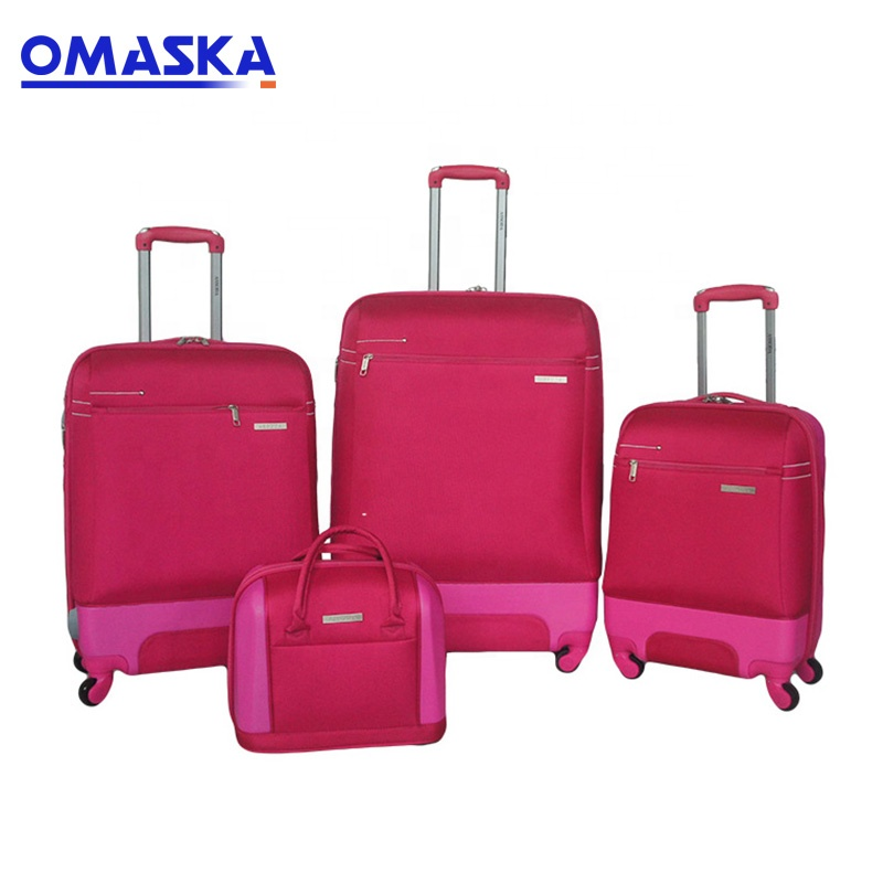 Factory wholesale Langchao Luggage - New Design Factory Supplier Fashion Match Color Pink Black Hard Shell Nylon And ABS Travel Luggage Set – Omaska