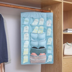 New storage hanging bag Oxford cloth wall hanging dormitory double-sided underwear socks bra storage 15 grid 30 grid hanging bag