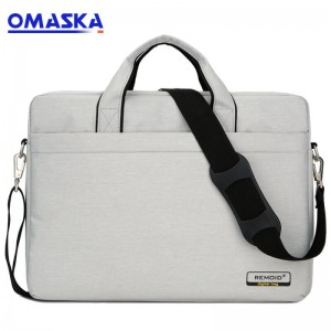 OMASKA custom logo wholesale new fashion men 13 inch 14 inch 15.6 inch laptop bag with trolley strap