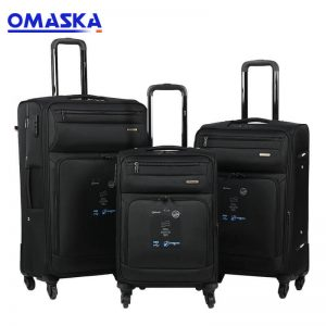 OMASKA luggage factory 8085# 3PCS set 20″24″28″ soft OEM/ODM Travel Suitcase
