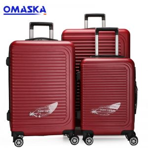 OMASKA brand hard shell hot selling customs wholesale 3PCS set 20″24″28″ Abs Luggage
